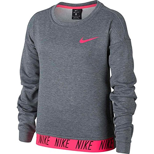 Nike Sweatshirt Dry Crew Po Kinder T-Shirt, Carbon Heather/Racer, S