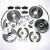 Bremsen vorne + Bremstrommeln Kit hinten + Bremsschläuche für vorne hinten