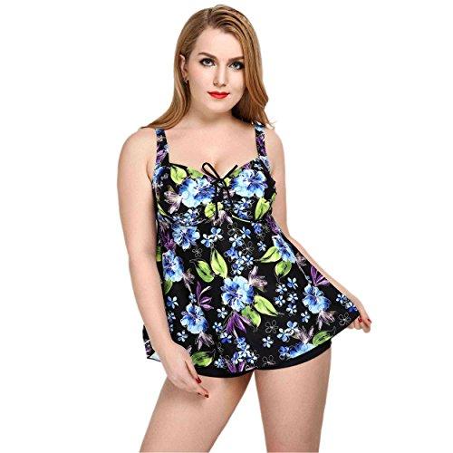 Mufly Bikini 2017 Bañadores Mujer Talla grande Trajes de baño de dos Piezas con Braguitas Ropa de Natación Estampado Floral Push Up Bañador Elástico para Playa Piscina Viaje Beachwear Swimsuit Swimwear Azul 5XL