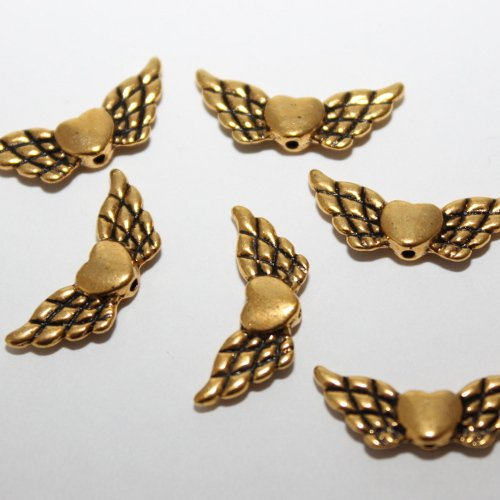 ngel Fee Flügel mit Herz (20001)Antik Gold 22x9mm 10Stk. (Fee Mit Flügel)