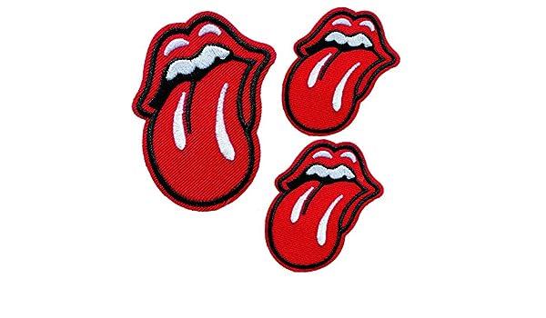 Rote Lippenzunge gestickt auf annähen Patch Abzeichen für Kleidung Taschen usw.