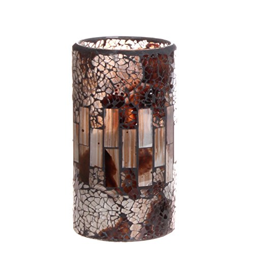 DFL brownness Mosaic Glass with Flameless Electronic Led Candles with Timer,Battery Operated