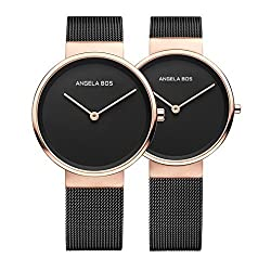 BOS His and Hers Ultra Thin Simple Stainless Steel Quartz Wrist Couple Watch for Lovers Bracklet 8010