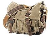 Eysee Schultertasche Herren Canvas-Umhängertasche Daypack für Alltag und Sport 35cm (L) X 30cm(H) X 10cm(W) (Grün)