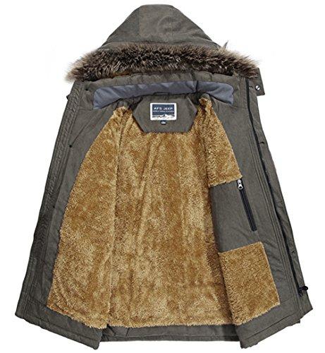 los angeles 9656e f353a Cappotto Uomo Inverno Pelliccia Cappuccio Caldo Imbottito Fleece Foderato  Casual Giubbotto Parka Invernali