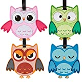 Bundle Monster 4pc Fun Mixed Owl Design Silicone Luggage ID Bag Tags - Set 5: What a Hoot!
