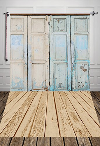 HUA™ Vintage Door Light Blue Photography Background for Party Decoration Birthday Table Backdrop Pet Newborn Baby Photo Props (150x220cm) D-7507 (Vinyl Tablecloth Roll)