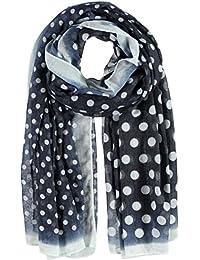 Passigatti Polyester/Baumwoll Punto Schal mit Punkten und Farbrand 100 x 190 cm Damenschal: Farbe 61-Marine