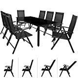 Deuba Aluminum 8 Seater Model BERN | Outdoor Garden Dining Table and Chairs Set | Weatherproof Furniture | Adjustable Chairs | 5mm Safety Glass Table Top | Model Choice