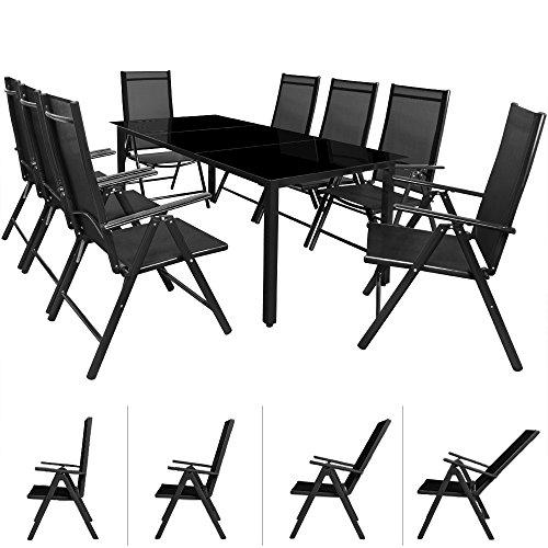 Deuba® Aluminium Sitzgruppe 8+1 Anthrazit | 8 verstellbare Stühle | Tisch höhenverstellbar | 5mm Tischplatte aus Sicherheitsglas | wetterfest Drinnen & Draußen [ Modellauswahl 4+1 / 6+1 / 8+1 ] - Alu Sitzgarnitur Gartenmöbel Gartenset Essgruppe Gartengarnitur Klappstuhl Gartenmöbelset