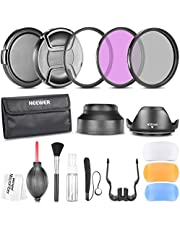 Neewer 58 mm Accessory Kit for CANON EOS Rebel T5i T4i T3i T3 T2i T1i XT XTi XSi SL1 DSLR Cameras: Filter Kits (UV, CPL, FLD) Carrying Pouch, Lens Hoods (Tulip and Collapsible), Flash Diffuser Set, L