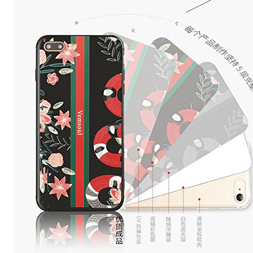 Iphone 7 Painted Relief Tier Matt Hülle + Farbe Vollständige Abdeckung Schutzfolie,SUNAVY Neu 3D 360-Grad Weich TPU Anti-stoß Anti-Kratzer Handyhüll Schutzhülle für Apple7,4.7 zoll,Papagei Blumenschlange