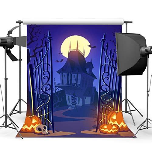 ror Night Backdrop 3X5FT Vinyl Spukendes Schloss All Saints 'Day Kulissen Scary Kürbislampen Fotografie Hintergrund für Kinder Baby Hallowmas Maskerade Fotostudio Requisiten ()