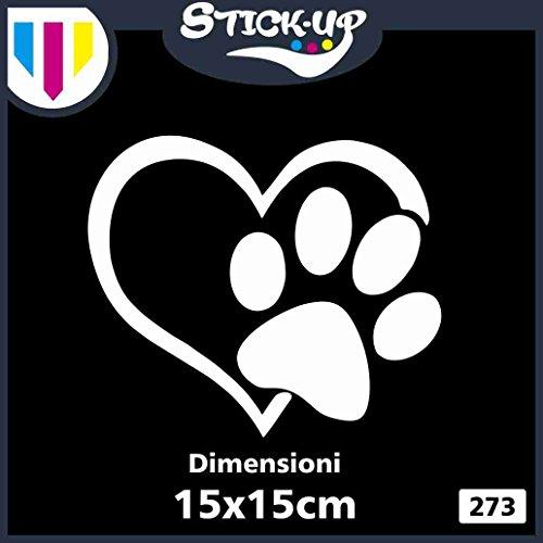 Adesivo Sticker Love My Dog - Zampa Cuore Cane - Dimensioni 15x15 cm - Adesivo Tuning lunotto Auto Moto Custom Decal (Bianco)