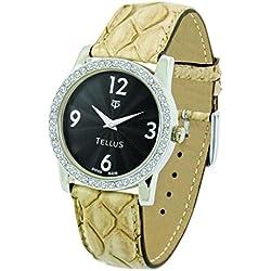 Tellus - Vintage - Luxury Women's watch with black dial, beige strap in Genuine python, Swiss Made - T5068DI-102