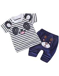 Vovotrade El niño embroma la ropa rayada del equipo de los muchachos del oso de panda encantador fijada,Camisetas Tops + Pantalones, Rojo /gris / azul