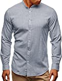 Pxmoda Herren Langarm Oxford Hemd Button-Down Freizeit Hemden (A-Grau, Small)