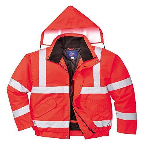 Portwest S463 - Hi-Vis chaqueta de bombardero, color rojo, talla 3 XL