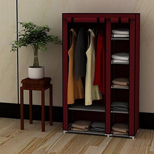 EBS® Kleiderschrank Wäscheschrank Garderobenschrank Stoffschrank Faltschrank Schrank Garderobe Regal 175 x 45 x 100 cm Weinrot