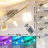 LED Deckenstrahler Parnu - Deckenlampe 3 flammig mit verstellbaren Köpfen – mit Fernbedienung und RGB Farbwechsler – 960 Lumen – 3000 Kelvin RGB zuschaltbar – Deckenlampe mit tollen Farben - dimmbar