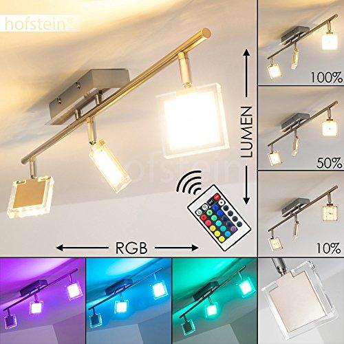 Deckenleuchte Parnu aus Metall Chrom/Nickel matt - 3-flammige LED Zimmerlampe für Wohnzimmer - Schlafzimmer - Flur - mit Fernbedienung und RGB Farbwechsler - Leuchte ist dimmbar - Spots beliebig dreh- und schwenkbar.