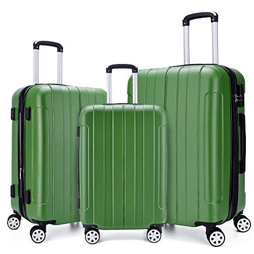 Fochier Bagagli 3 Pezzo Fissato Espandibile Hard Shell Spinner Valigia Leggera(20' 24' 28'),Verde