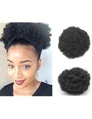 Cheveux bouclés synthétiques cheveux Clip cheveux courtes Afro bouclés synthétique Wrap Drawstring Pufftail queue de cheval Extensions perruque pour Afro-américain (#1B)
