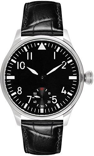 PARNIS 9019 klassische Handaufzug-Fliegeruhr 44mm mechanische Herren-Armband-Uhr Edelstahl Lederarmband SeaGull ST36 Markenuhrwerk