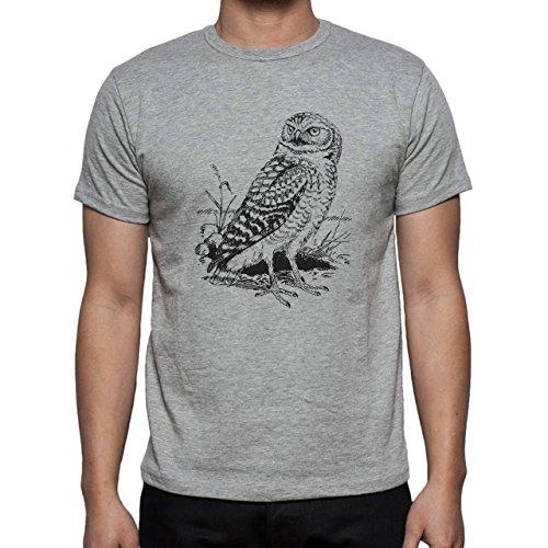 Owl Bird Night Midnighter Painting Herren T-Shirt Grau