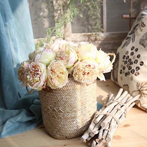 Longra Künstliche Seide Pfingstrose Kunstblume Blumenstrauß Blumen-Bouquet Dekoration 5 Köpfe Bouquet