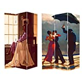 6FT Tall 3 Panel 2 Fold 1950'S Dancers Room Divider Canvas Dressing Screen From Lillyvale