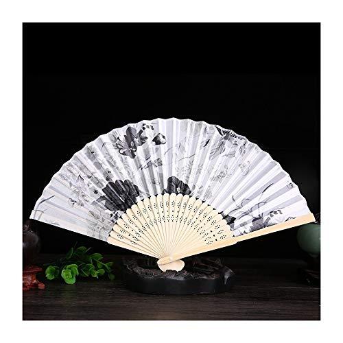 JUNHONGZHANG 2PCS Frauen-Fan Retro-Seide Fan Japanischen Stil Falten Fan (21Cm), Weißer Fan Knochen Tinte Fan-Sektor