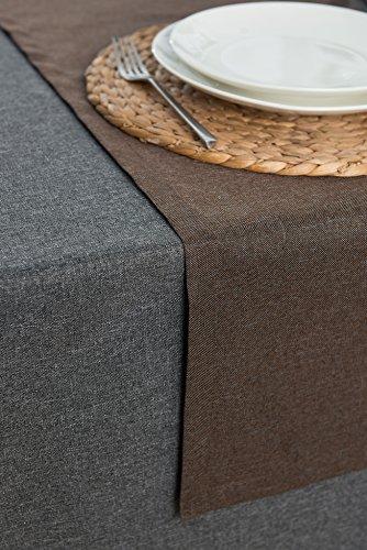 ROLLMAYER abwaschbar Tischläufer Wasserabweisend / Lotuseffekt (Melange Braun 17S, 40x120cm) Leinenoptik Tischtuch mit pflegeleicht Fleckschutz, Rechteckig, Farbe & Größe wählbar