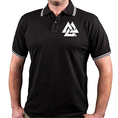 Männer und Herren POLO Shirt Berserker - Sons of Odin (mit Rückendruck) Schwarz/Weiß