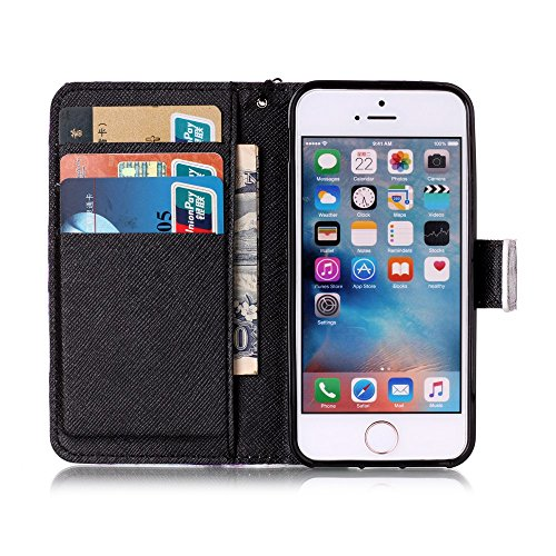 iPhone SE Hülle,iPhone 5 Tasche,iPhone 5s Hülle,iPhone SE iPhone 5 iPhone 5S Leder Cover,Cozy Hut PU Leder Hülle für iPhone SE 5 5S Ledertasche Schutzhülle Case[Stand Feature] Flip Case Cover Etui mit Little Monsters