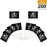 200 Piezas de Palillos de Dientes de Bandera de Pirata Marcador de Queso Marcador de Etiquetas para Tarta de Fiesta Plato de Comida, Negros