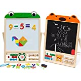 UJIE™ Wooden 6 in 1 Learning Writing Black & White Board with Magnetic Numbers, Shapes, Clock & Abacus