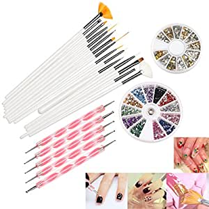 RUIMIO 15 pcs Nail Art Pennelli ,12 Colors Adesivi Nail Art , 5pcs Dotting Pen and 3D Nail Art Manicure Wheel with Gold and Silver Metal Studs