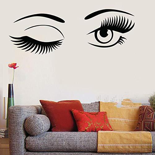 XPBOOKST Wandtattoos Vinylwandaufkleberfrauen Schauen Die Augen, Die Wandwandaufkleber-Schönheit Wandgemälde Für Schlafzimmerwohnzimmerfriseursalon 30 * 60Cm Blinzeln (Für Augen Schauen, Wandtattoo)