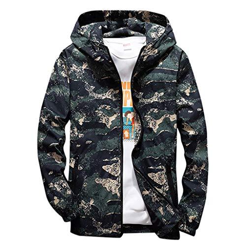 Realde Herren Sweatshirt Hoodie Sweatjacke Kapuzenpullover Langarmshirt Camouflage Reißverschluss mit Taschen Kapuzenjacke Sport Fitness Training Pullover Sportswear Sportjacke -