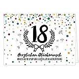 Große Glückwunschkarte zum 18. Geburtstag XXL (A4) Konfetti bunt/mit Umschlag/Edle Design Klappkarte/Glückwunsch/Happy Birthday Geburtstagskarte/Extra Groß/Edle Maxi Gruß-Karte
