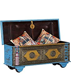 Theshopy Wooden Hand Painted Trunk Wheel Box With Brass Ftd A438