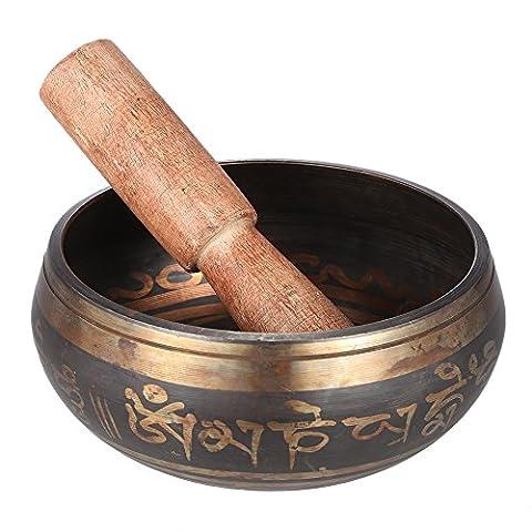 Ammoon Bol tibétain en métal pour pratique du bouddhisme méditation guérison relaxation 7 cm 4.5