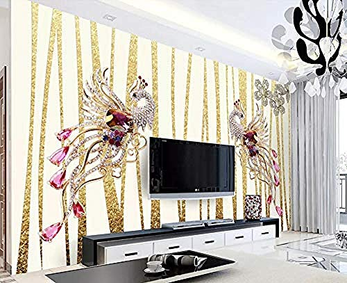 Tapete 3D Abstrakt Goldschmuck Pfau Modern Wohnzimmer Schlafzimmer Großes Wandbild Wanddekoration @ 150cmx105cm Wandtattoo Aufkleber Aufkleber Fototapete Tapete