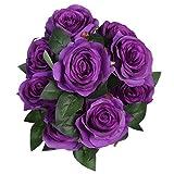 Veryhome Blumenstrauß aus gefälschten Rosen, 9 Köpfe Künstlicher Rosenstrauß, sehr realistisch als Brautstrauß oder zur Dekoration, Lila