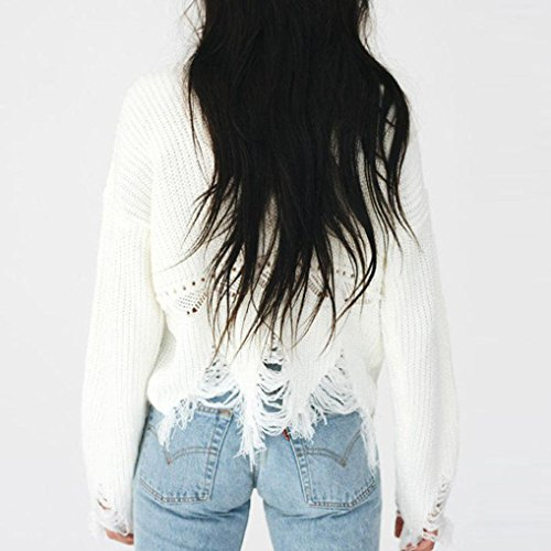 AIMEE7 Femmes Solide à Manches Longues à Tricoter Chaud Chandail Gland Pull Tops Blouse Blanc