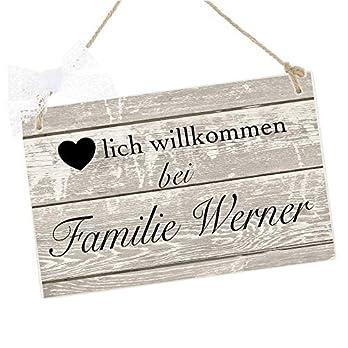 Türschild mit Namen für die Haustür aus Holz, Herzlich Willkommen bei Familie, Besondere Geschenkidee zum Einzug, Richtfest, Weihnachten uvm.