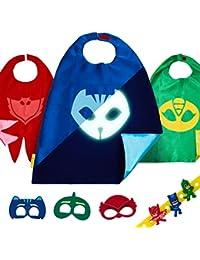 Set de Disfraces PJ Masks con 3 Capas, Máscaras y Pulseras de Gatuno, Buhíta y Gecko para Niños y Niñas - Trajes de Owlette, Catboy Gekko que Brillan en la Oscuridad para Fiestas Cumpleaños