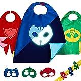 3 capes et ensemble de costumes PJ Masks jouets pour garçons et filles, costumes de super-héros pour bambins et enfants, déguisements de OWLETTE, CATBOY et GEKKO, bracelet cadeaux offer