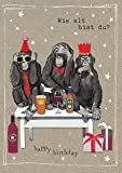 Popshot Studios Humor Geburtstag Karte Glitzersteine Grußkarte Affen 17x12cm